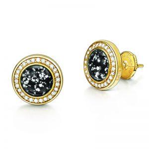 black gold halo earrings