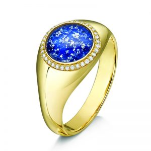 blue gold halo round signet ring