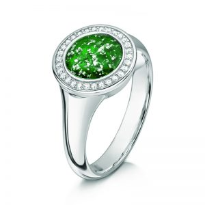 green silver halo tribute ring