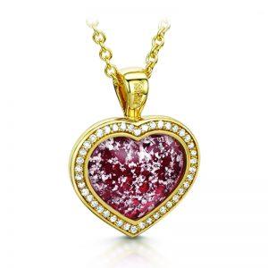 ruby gold halo heart pendant