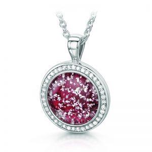 ruby silver halo round pendant